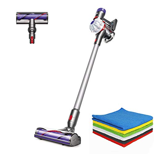 Dyson V7 Allergy Cordless HEPA Vacuum Stick Vacuum Cleaners  Lightweight, Powerful Suction for Versatile Cleaning  White + BROAGE 6 Colors Microfiber Cleaning Cloths