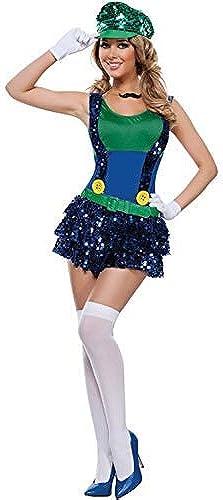 LVLUOYE Cosplay-Spiel-Uniform der Frauen Der Pailletten Super Mario Halloween-Party-Partei-Kostüm-Thema-Maskerade-Accessoires