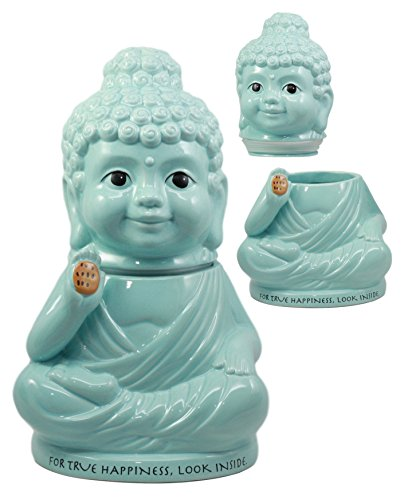 Ebros'True Happiness' Eastern Enlightenment Medicine Buddha Ceramic Cookie Jar 10.75'Tall Collectible Kitchen Hosting Dining Accessory Meditating Happy Buddha Figurine