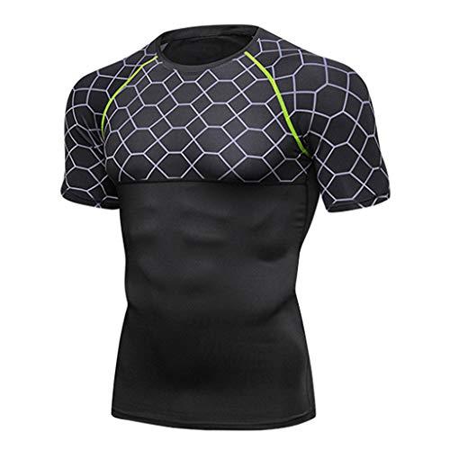 BURFLY BURFLY Kurzärmeliges funktionelles T-Shirt mit festem Ausschnitt und komprimierter Mesh-Naht und schnell trocknendem Fitness-Sweatshirt