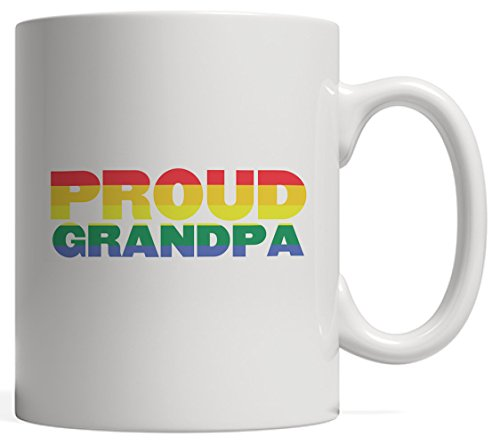 DKISEE Proud Grandpa Coffee Mug LGBT Grandparent Gay Pride Rights Gender Equality! Rainbow Flag for Lesbian Homosexual Bisexual Transgender Grandfather 11oz