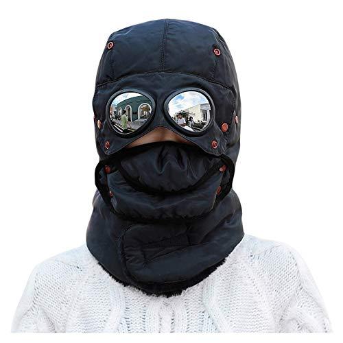 CM C&M WODRO Unisex Warm Waterproof Trapper Hat Ear Flap Thermal Neck Warmer Women Men Winter Hat with Goggles (Black)