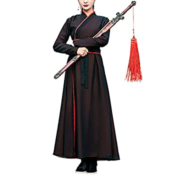 Chinese Traditional Hanfu Dress Ancient Swordman Kungfu Suit Adult Tang Dynasty Costume Knight Martial Arts Clothing Outfits  17-Black S