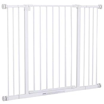Pawhut Barrière de sécurité Longueur réglable dim. 72-107l x 76H cm sans perçage métal Plastique Blanc