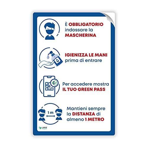 Pack 3pz Cartello Segnaletico Adesivo Indicazioni Ingresso Aggiornato con Green Pass | Adesivo Attacca e Stacca Indicazioni Ingresso 20x30 non lascia residui di colla sulle superfici