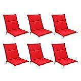 Beautissu Niedriglehner Auflagen Base NL Sitzkissen 6er Set 100x50x6cm Sitzpolster Sitzauflage für Garten Balkon Camping Stuhl Rot