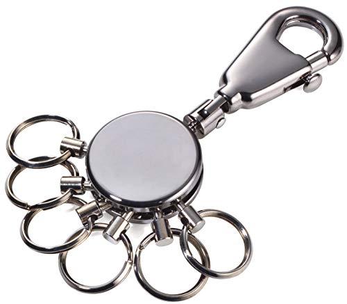 TROIKA PATENT – KYR60/GM – Schlüsselanhänger – Schlüsselorganizer, Schlüsselorganisation– inkl. Karabiner – 6 abnehmbare Ringe – Schluss mit dem Chaos am Schlüsselbund! – TROIKA-Original