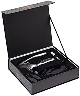 BarCraft KCBCCON3 Wine Gift Set with Corkscrew, Bottle Stopper and Foil Cutter in Box, 5 Pieces