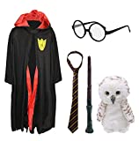 Kids Wizard Halloween Costume - Magic School Uniform Costume For Book Week / World Book Day - Black Robe With Red Lining & Magic School Crest + Tie + Glasses + Magic Wand + Toy Owl (4 - 6 Years)