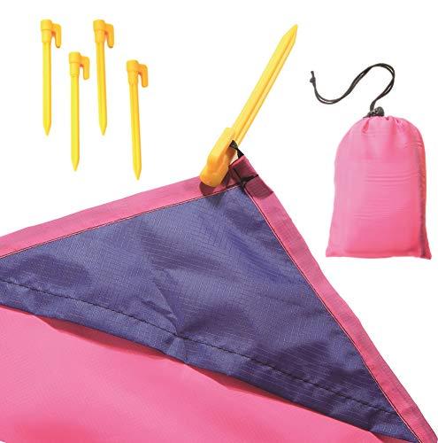 Wasserdichte Picknickdecke, Stranddecke mit Tasche und Haken, 200 cm x 140 cm (pink)
