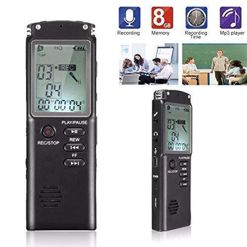 Digitales Diktiergerät, Lychee USB 1536Kbps 8GB Digitaler Voice Recorder,Lärmreduzierung/MP3/Stimme aktiviert/Automatisches Speichern,geeignet für Meetings, Vorträge, Interviews (Schwarz 01)