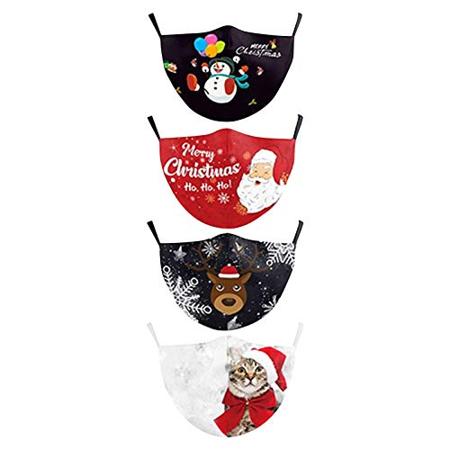 4 PCS Christmas Face_Masks, with Adjustable Ear Loops Unisex Adult Cotton Fabric Breathable Christmas Printed Facial Decorations (A)