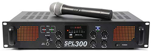 SkyTec 2 x 150W SPL 300VHFMP3 Versterker met draadloze microfoon