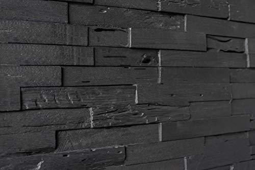 WoodyWalls 3D Reclaimed Barn Wood Wall Panels   DIY Glue and Nails Installation   Premium Set of 10 Panels (9.5 sq. ft. per Box) Dark Graphite