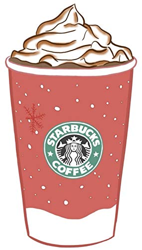 Starbucks Latte Coffee Holiday Art Sketch Vinyl Decal Laptop Car Bumper Sticker Set of 2
