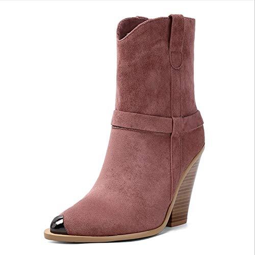 LIUJUN-WEI Cuñas de Grano de Madera Puntiagudo de Moda, Botas Cortas Súper de Tacón Alto, Velada Sexy Plus Tamaño Botas for Mujer (Color : A, Size : 37)