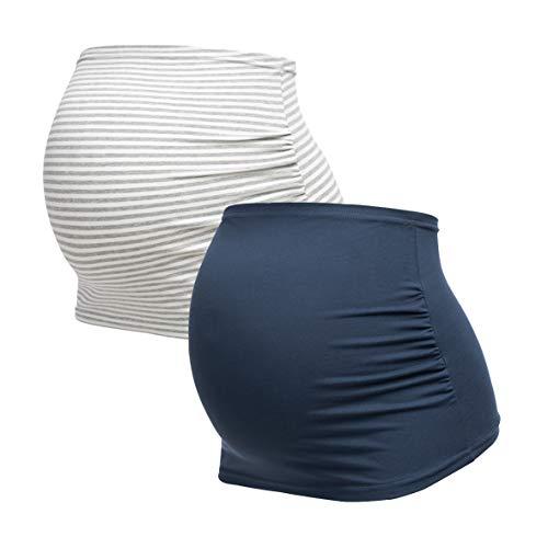 Herzmutter Bandeau de Grossesse - Paquet de 2 - Ceinture de Grossesse - Bandes de Ventre Maternité - Bandeau pour Femmes Enceintes - Uni-Rayé - 6000 (Neuf, S, Bleu/Rayé)