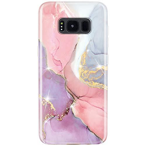 JIAXIUFEN Galaxy S8 Case Gold Sparkle Glitter Marble Design Flexible Bumper TPU Soft Rubber Silicone Cover Phone Case for Samsung Galaxy S8 - Pink Purple