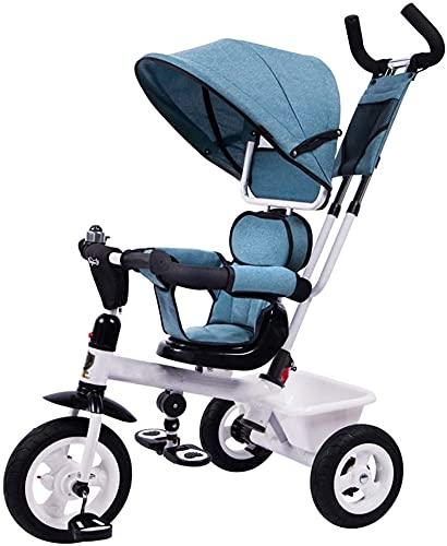 Triciclo para niños, triciclo 4 en 1 con mango ajustable, toldo extraíble, placa de pie retráctil, pedal con cerradura, barandilla desmontable, adecuado para 1-5 años, naranja (color: azul)