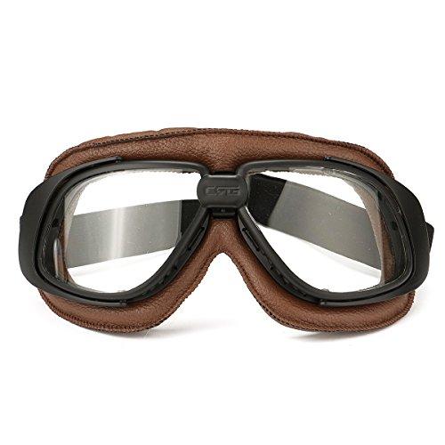 GOZAR Motorrad Retro Brille Flying Scooter Helm Wind Schutzbrillen Anti-UV Braun Rahmen N- Klar