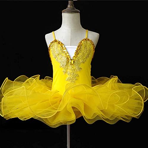 Disfraz de tut de Ballet Lake Swan para nia, Camisola con Falda Leotardo, Ropa de Baile de Bailarina, Vestido de Princesa de Hadas con Niveles Brillantes,Amarillo,110cm