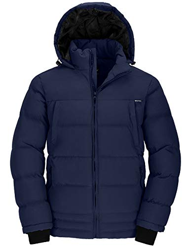 Wantdo Mens Winter Thicken Cotton Coat Quilted Jacket with Fixed Hood Navy Large