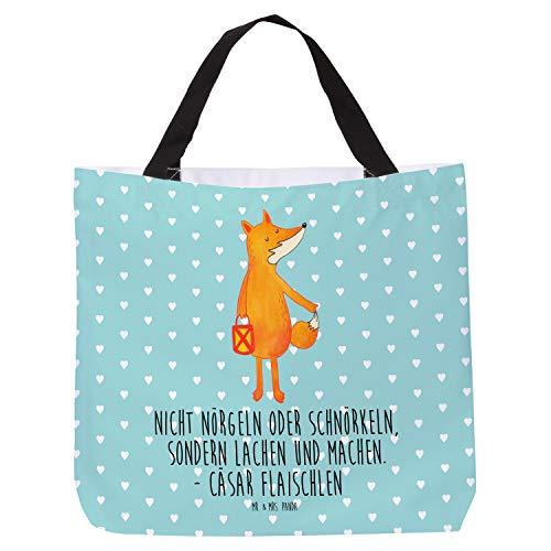Mr. & Mrs. Panda Henkeltasche, Strandtasche, Shopper Fuchs Laterne mit Spruch - Farbe Türkis Pastell