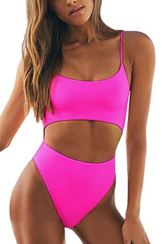 LEISUP Fashion Womens Strappy Tube Top Hollow Out Thong Bottom Swimsuit,ROSEO L Hot Pink
