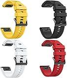 Classicase Correa de Reloj Compatible con Garmin Fenix 6X Pro/Fenix 6X Sapphire/Fenix 3 / Fenix 5X Plus/5X Sapphire, Silicona Banda de Reemplazo Pulsera (4-Pack H)