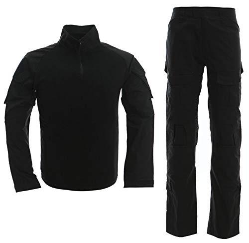 Taktischer Anzug für Herren, Kampf-Hemd und -Hose, Langarm, Ripstop, MultiCam, für Airsoft, Wald, Jagd, Militär, BDU, Uniform Gr. M, Schwarz