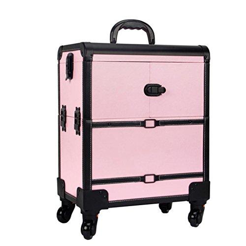 Ali@ Étui de trolley de maquillage, 2 dans 1 étui de voyage de maquillage de roulement, sac de maquillage de beauté, organisateur cosmétique sur des roues (Couleur : Pink)