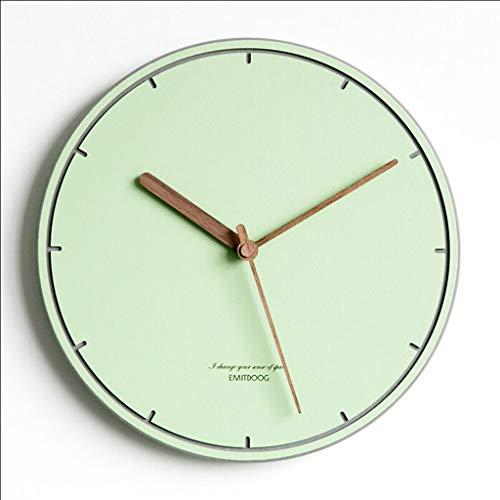 JiuErDP Moderno Minimalista Creativo Reloj de Pared/Sala de Estar Dormitorio Reloj casero/Reloj de Pared nórdico silencioso Reloj de Pared (Color : Green)