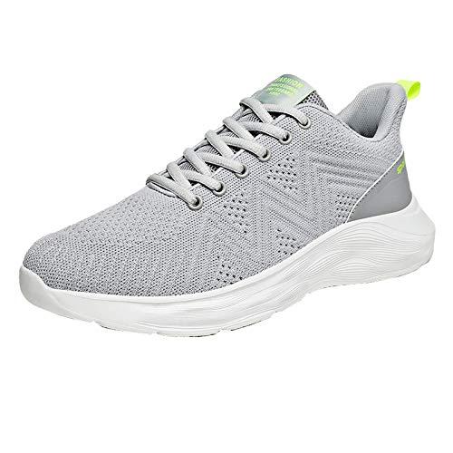 COOPCUP Hombres Casual Zapatos de correr Verano Zapatillas de deporte de malla transpirable Negro Hombre Entrenadores Tenis Zapatos Ligero Cómodo, negro (gris), 46 EU