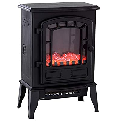 "HOMCOM Freestanding 1500W Steel Electric Fireplace Stove Space Heater Infrared LED, 9.5"" W, Black"
