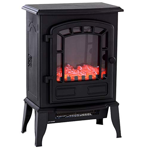 """HOMCOM Freestanding 1500W Steel Electric Fireplace Stove Space Heater Infrared LED, 9.5"""" W, Black Heater Infrared Space"""