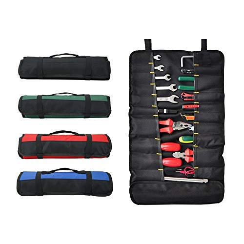 Tool Roll Bag with 38 Pockets, Foldable Tool Bags, Roll Tool Storage Bag, Screwdriver Roll for Outdoor Use (Black)