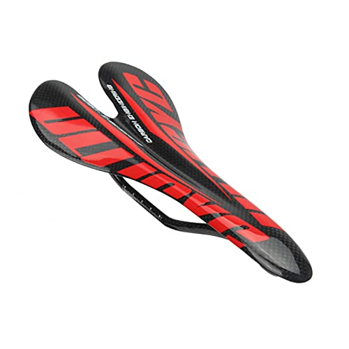 Monnadu Sillín de bicicleta con doble muelle impermeable absorción de golpes transpirable accesorio carretera asiento abierto Sillines de ciclismo universal bicicleta rojo