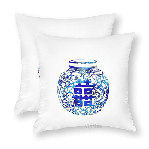 Set of 2 Decorative Throw Pillow Covers Ming Vase, Double Happiness, Blue and White China Vase, Watercolor Ginger Jar Silky Cushion Covers for Sofa Home Pillow Cases 20x20 Inch