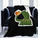 Kermit The Frog - Manta de té de forro polar ligera y cómoda de franela para invierno, para dormitorio, sala de estar de 156 x 150 cm