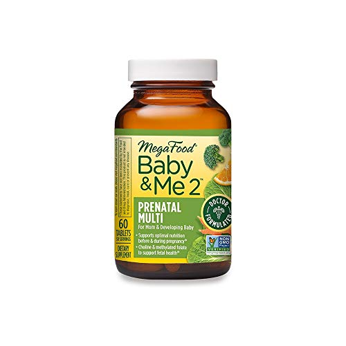 MegaFood, Baby & Me 2 Prenatal Multi, Prenatal and Postnatal Vitamin with Active Form of Folic Acid, Iron, Choline, Non-GMO, 60 Tablets