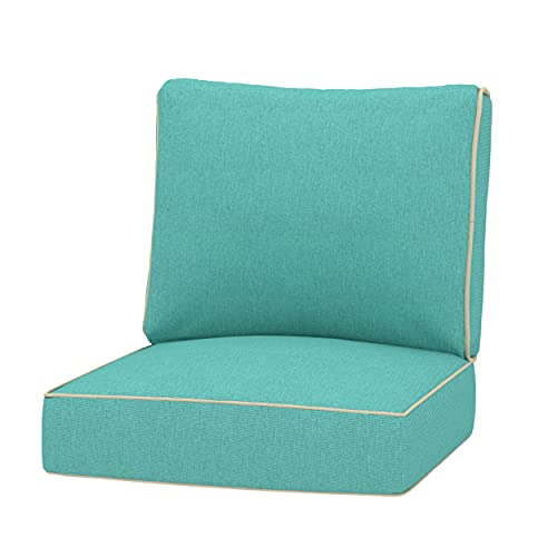 Creative Living Chair 24x24 Outdoor Deep Seating Patio Replacement Cushions, Teal Blue