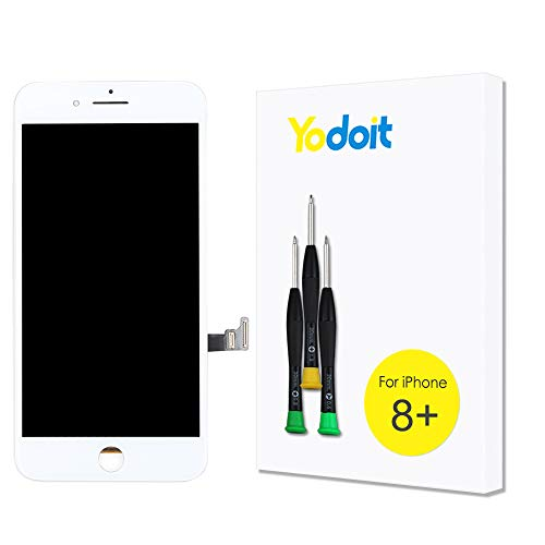 Yodoit para Pantalla iPhone 8 Plus Blanco, Conjunto de Pantalla LCD y digitalizador Reemplazo de la Pantalla táctil de Vidrio con Marco + Kit de Herramientas de reparación (5,5 Pulgadas)