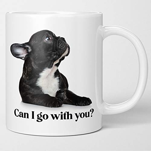 Funny French Bulldog Coffee Mug - Can I Go With You. What a Face. Dog Lover Gift, Fun Tea Cup. Surprise Your Dog Mom, Dog Dad, Cute Sweet Surprise for Puppy Owners. Fur Baby Momma Daddy Cannot Say No.
