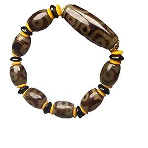 ZHIBO Tibetisches Armband mit 3 Augen und 9 Augen, Dzi Perlen