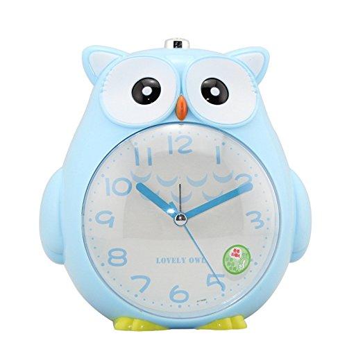 Abenily Hochwertiger Wecker Nette Kinder Scherzt Studenten Stille Eulen-Art-Wecker mit Nachtlicht (blau)