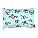 Cotton Queen Pillowcase French Bulldog with GlassesCotton Pillow Case Queen Size Soft and Cozy Bedding Zipper Closure Pillow Cover-20x30 Inch