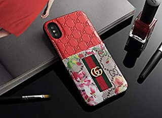 Phone Cases for iPhone X/XS - New Classic Elegant Luxury PU Leather Style Cellphone Protection Back Cover Case Fashion Designer Have Card Slot Compatible with Apple iPhone X/XS(Red)