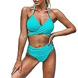 Fhdisfnsk Conjunto de Bikini para Mujer Traje de Baño de Dos Piezas con Escote Cruzado Y Cintura Alta