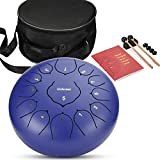 Steel Tongue Drum-12 Inch 13 Note Percussion Instrument Lotus Hand Pan Drum with Drum Mallets Carry Bag