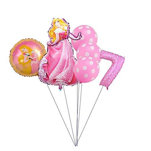 XINGYAO Balloon 6pcs Belle Cinderella Snow White Princess Birthday Party Decoration Baby Shower Kid Party Princess Balloon Air Globos party (Color : Orange)